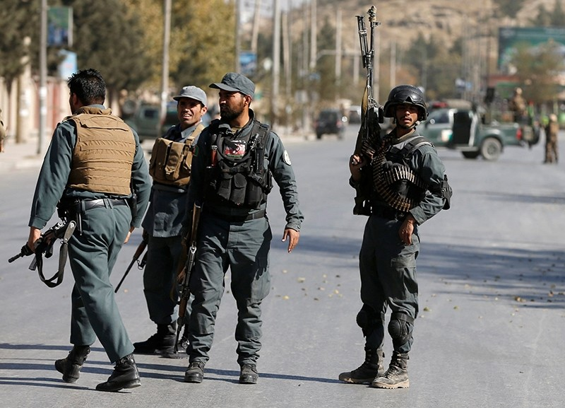 Afghan policemen keep watch at the site of an attack in Kabul, Afghanistan, Nov. 7, 2017. (Reuters Photo)