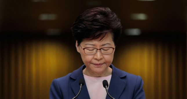 Hong Kong Chief Executive Carrie Lam pauses during a press conference in Hong Kong, Tuesday, July 9, 2019. (AP Photo)