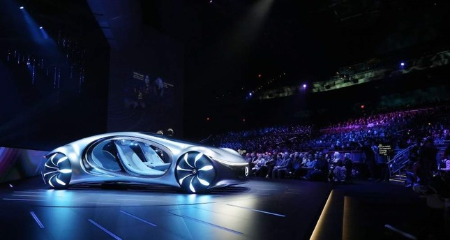 The Mercedes-Benz Vision AVTR concept car is displayed during a keynote address at CES 2020 at Park Theater at Park MGM on January 6, 2020 in Las Vegas, Nevada. AFP Photo