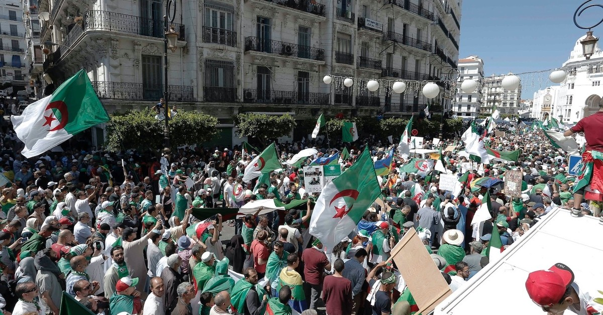 Algerian protesters gather during an anti-government demonstration in the center of the capital Algiers, May 31, 2019.
