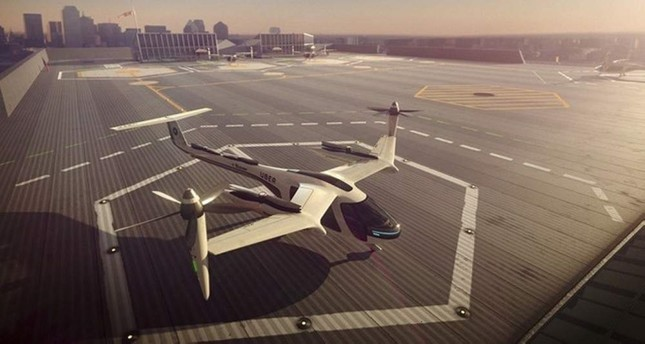 This computer generated image provided by Uber Technologies on Nov. 8, 2017 shows a flying taxi by Uber. AP Photo