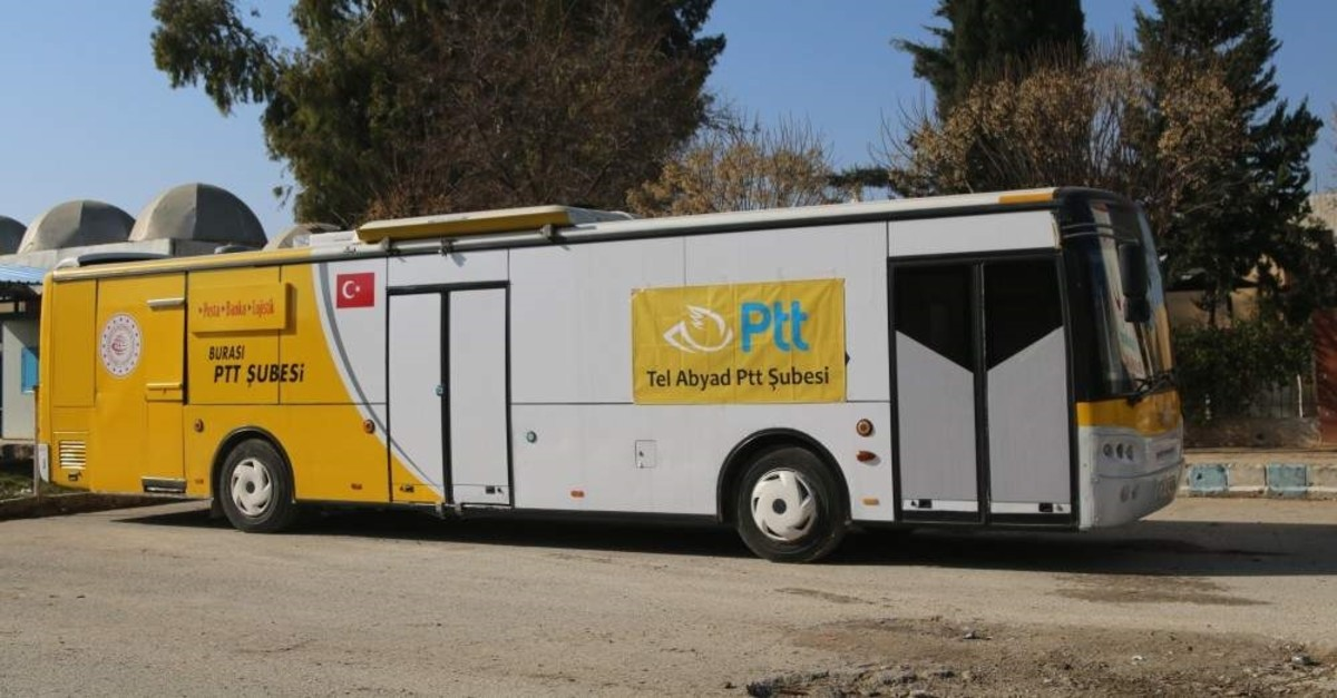 The mobile PTT branch opened for service in Syria's Tal Abyad after being liberated from terrorists. (AA Photo)