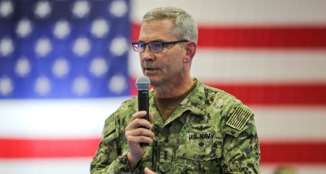 A handout photo made available by the US Marine Corps shows US Navy Vice Adm. Scott A. Stearney delivers remarks during a change of command ceremony in Bahrain, July 03, 2018. EPA Photo