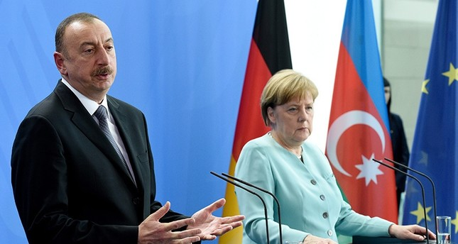 German Chancellor Angela Merkel and the President of Azerbaijan, Ilham Aliyev, during a press conference in Berlin, Germany, June 07, 2016. EPA Photo