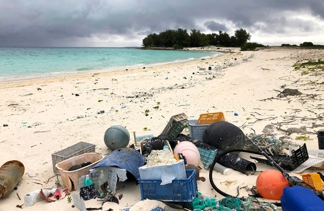 In this Oct. 22, 2019, photo, plastic and other marine debris sits on the beach on Midway Atoll in the Northwestern Hawaiian Islands. (AP Photo)