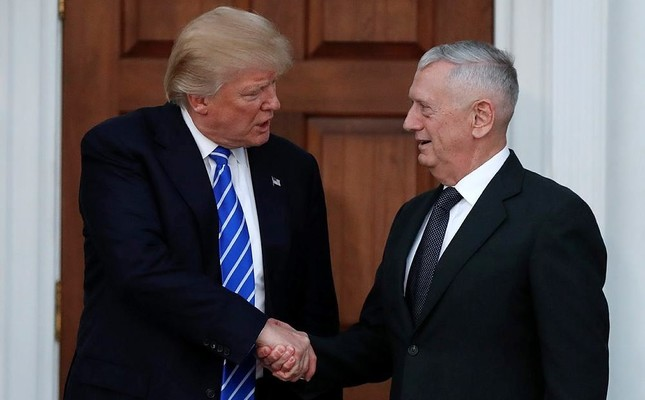 President-elect Donald Trump shakes hands with retired Marine Corps Gen. James Mattis (AP Photo)