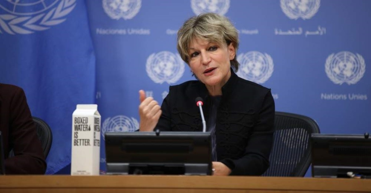 Agnes Callamard, U.N. special rapporteur on extrajudicial executions who issued report on the murder of Saudi journalist Jamal Khashoggi, speaks at a press conference, Oct. 25, 2019. (AA Photo)