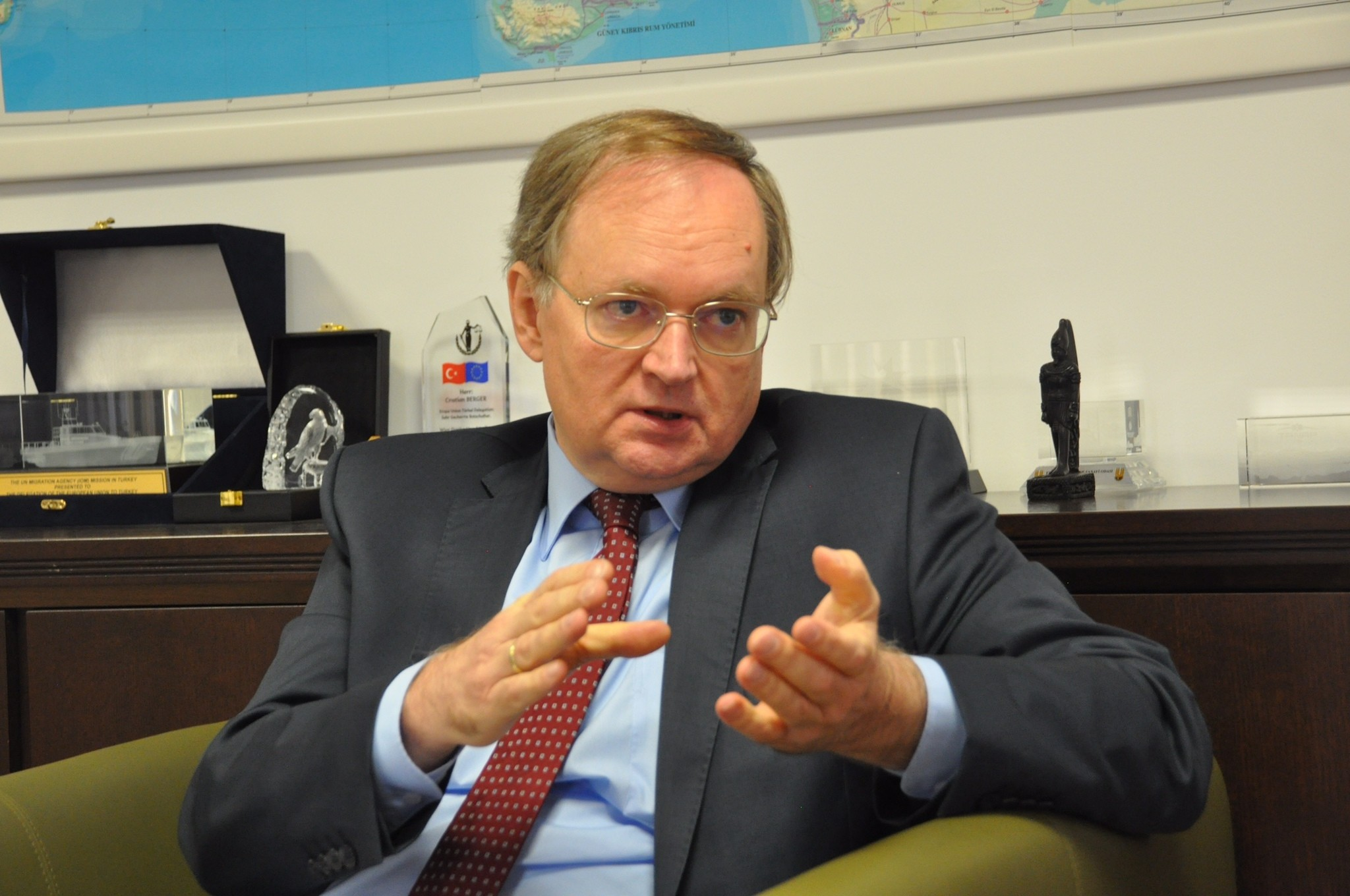 Regarding the recent developments in Syriau2019s Idlib, Christian Berger said that the EU shares the same position as Turkey and is in favor of a political solution.