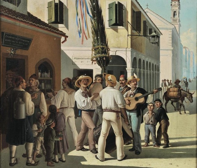May Day on Corfu (ca. 1875-1880), oil on canvas by Charalambos Pachis (1844-1891)