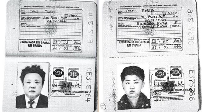 Kim Jong-Il (L) and his son Kim Jong-Un's Brazilian passports