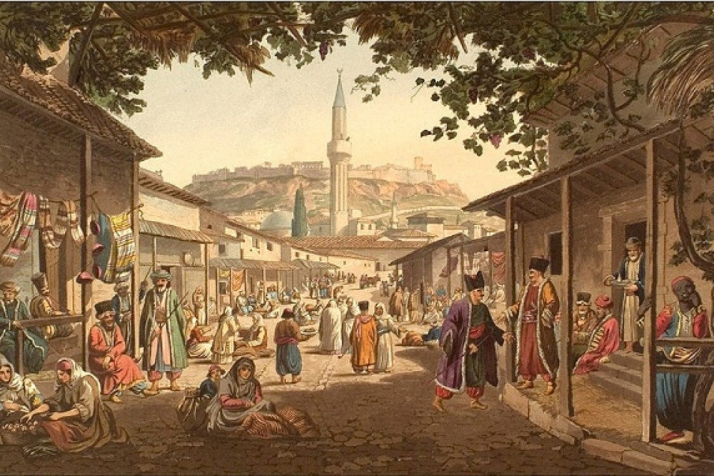 A painting portraying a market place in former Ottoman capital Bursa. During the Seljuk and Ottoman period, trade was an important part of daily life and ,derbend guards, were first to introduce insurance from Anatolia to the rest of the world.