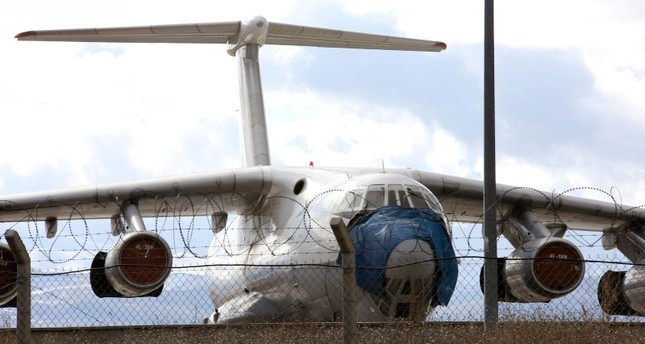 Sky Georgia Il-76TD cargo plane in Erzurum Airport. (AA Photo)