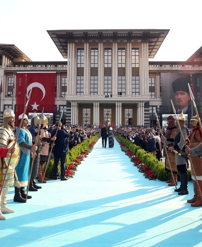 Erdoğan and his wife arrive for a ceremony at the Presidential Complex in Ankara, on July 9, 2018.