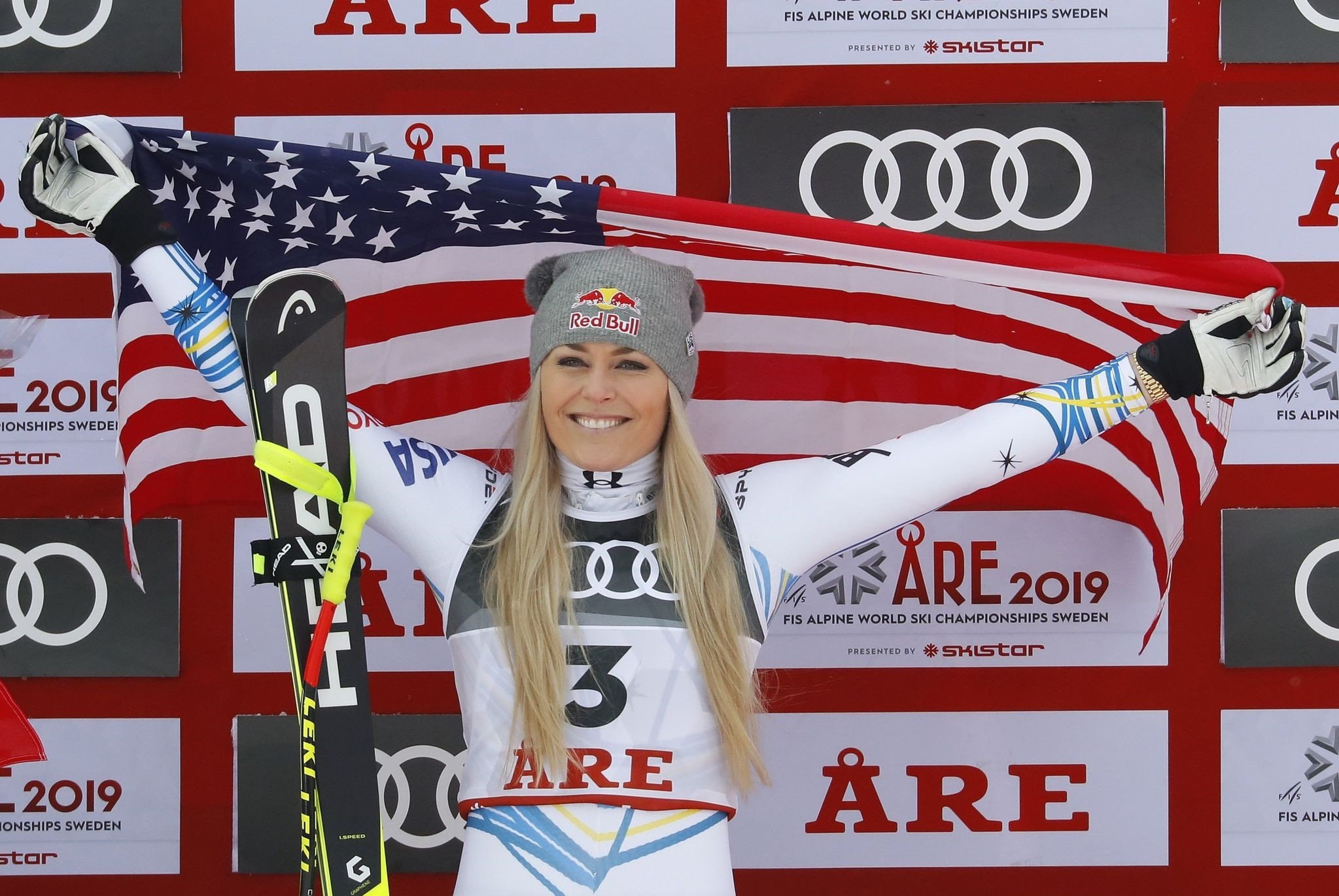 Lindsey Vonn of the U.S.  celebrates her bronze medal win on the podium, in Are, Sweden, Feb. 10, 2019.