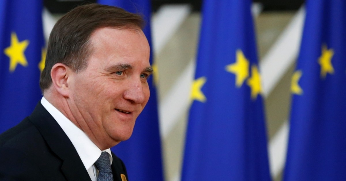 Sweden's Prime Minister Stefan Lofven arrives at an extraordinary European Union leaders summit to discuss Brexit, in Brussels, Belgium April 10, 2019 (Reuters Photo)