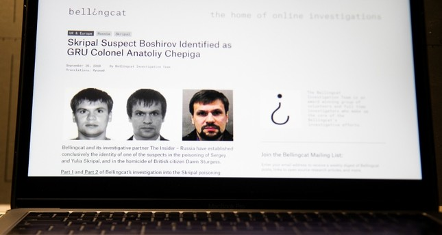 A web site of the British investigative group Bellingcat is seen on a computer screen in Moscow, Russia, Thursday, Sept. 27, 2018. (AP Photo)