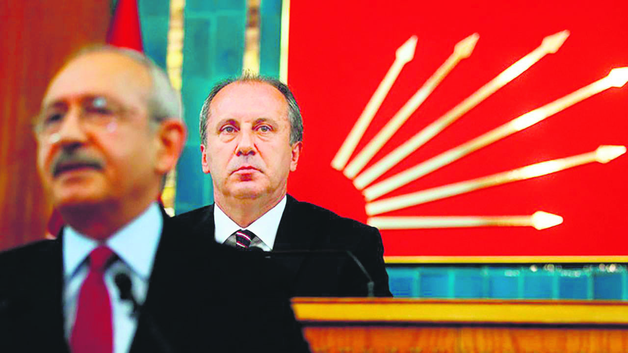 Muharrem u0130nce looks on in the background as CHP leader Kemal Ku0131lu0131u00e7darou011flu speaks at a party congress ahead of the June 24 elections.