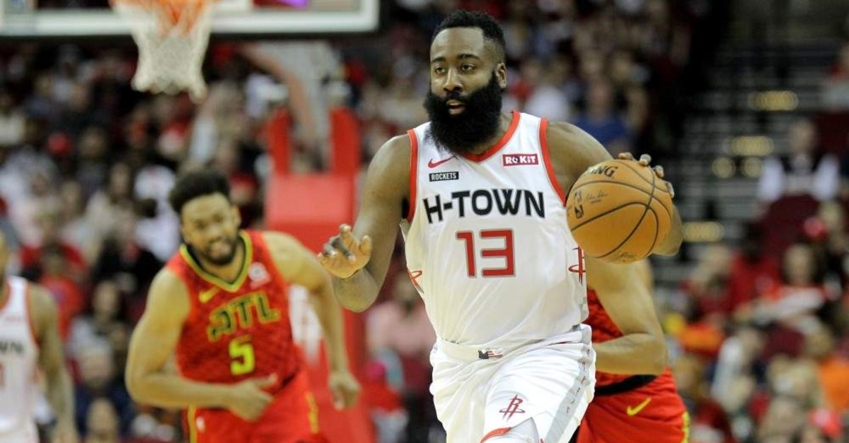 James Harden dribbles the ball against the Atlanta Hawks during the first quarter in Houston, Nov. 30, 2019. (Reuters Photo)