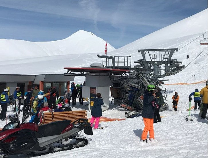 General view aftermath of the ski-lift accident in Gudauri, Georgia, March 16, 2018 in this picture obtained from social media (Reuters Photo)