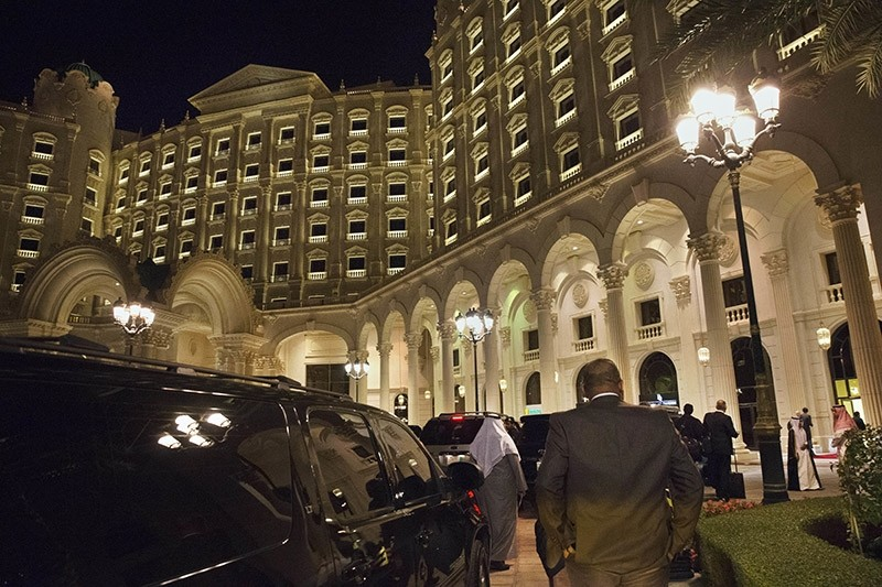 In this file photo, the motorcade carrying then U.S. Secretary of State John Kerry arrives at the Ritz Carlton Hotel in Riyadh, Saudi Arabia. (AP Photo)