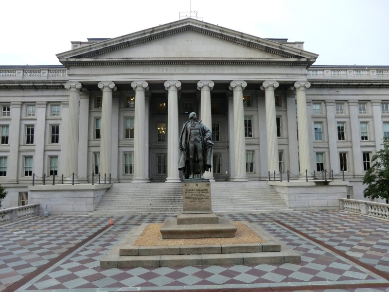 A file photo of the U.S. Treasury Department's building.