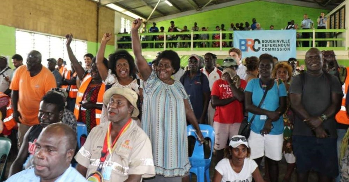 Members of the Bougainville Women's Federation cheer after results were announced in an independence referendum, Buka, Dec. 11, 2019, (AP Photo)