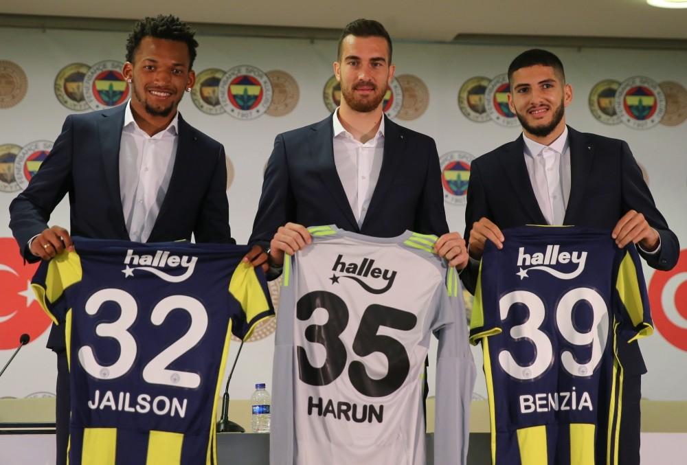 Fenerbahu00e7e signed Brazilian midfielder Jailson Marques Siqueira (L), goalkeeper Harun Tekin (C) and Algerian forward Yassine Benzia in a ceremony at u00dclker Stadium, Sept. 13.