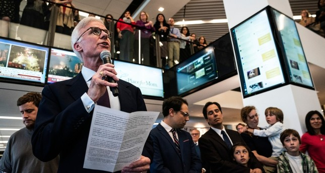 Washington Post publisher Fred Ryan speaks during a 2019 Pulitzer Prize announcement ceremony in the newsroom at the Washington Post office in Washington on Monday, April 15, 2019. (AP Photo)