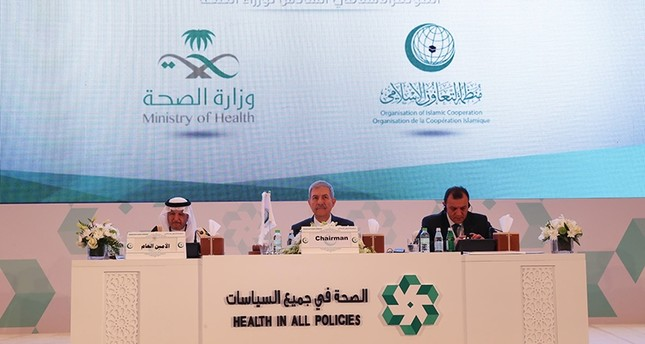 وزير الصحة التركي في مشاركته في الدورة السادسة للمؤتمر الإسلامي (الأناضول)