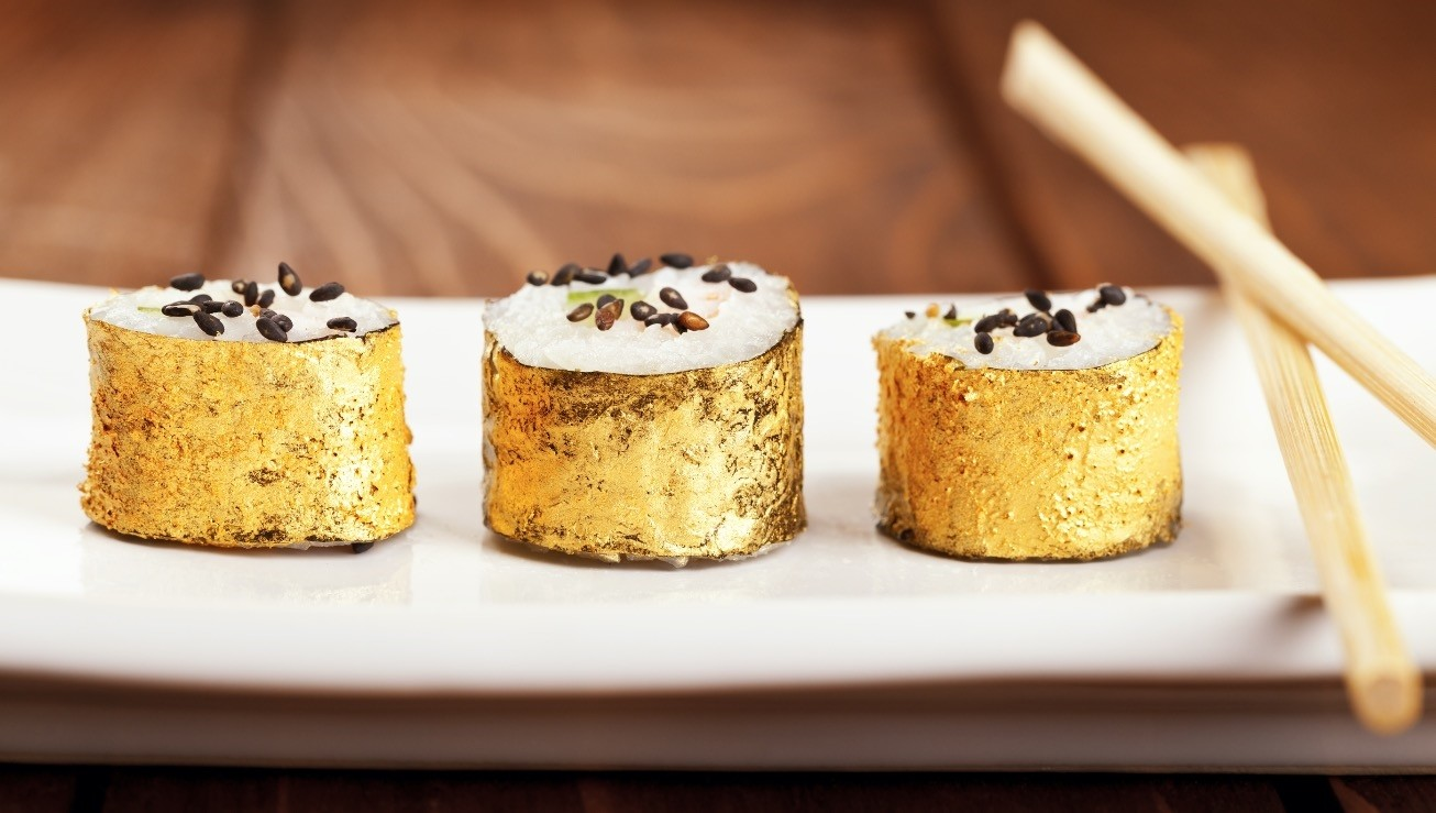 Edible gold, which was first used as a food ingredient by the ancient Egyptians, is now seen as a sign of wealth.