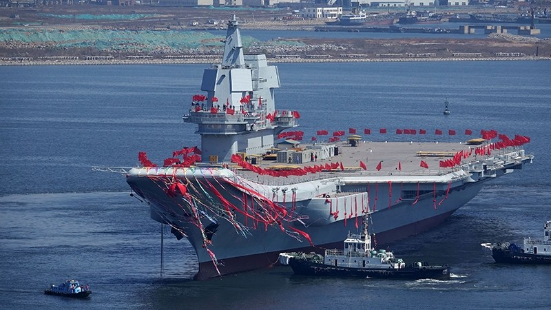 Type 001A, China's second aircraft carrier, is seen during a launch ceremony at Dalian shipyard in Dalian, northeast China's Liaoning Province, April 26, 2017 (AFP Photo)