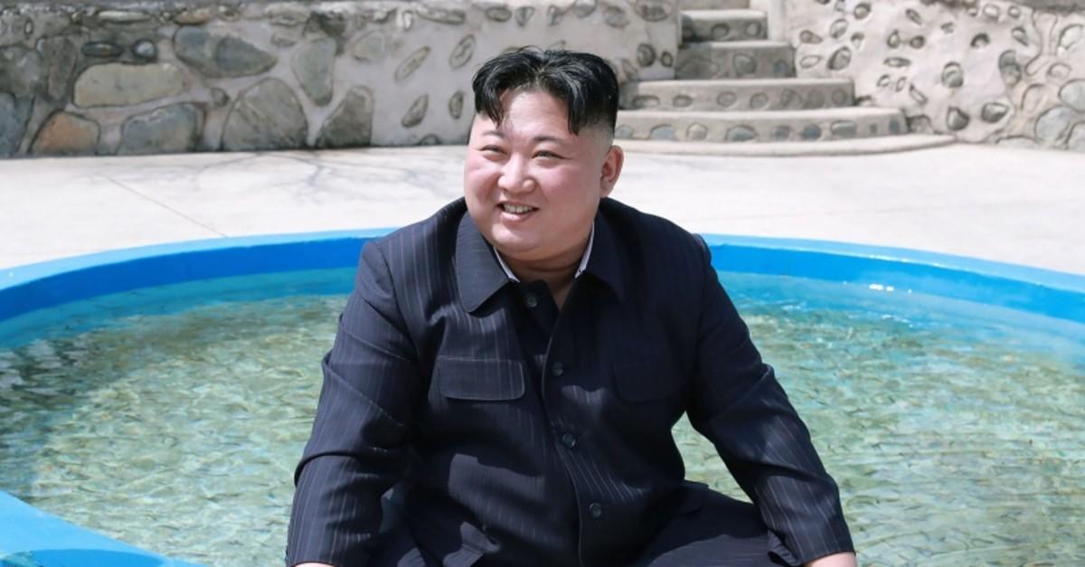 This April 16, 2019 photo, released on April 17, 2019 by North Korea's Central News Agency (KCNA), shows North Korean leader Kim Jong Un visiting the Shinchang Fish Farm. (KCNA via Reuters)