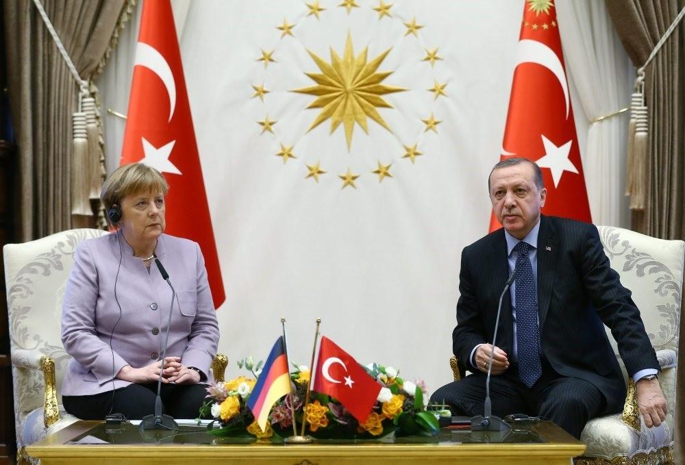 President Recep Tayyip Erdogan and German Chancellor Angela Merkel during their meeting at Beu015ftepe Presidential Complex in Ankara on Feb 2.