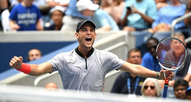 Dominic Thiem of Austria celebrates his win over Kevin Anderson of South Africa (not pictured) in a fourth round match on day seven of the 2018 U.S. Open tennis tournament on Aug. 2, 2018. (Reuters Photo)