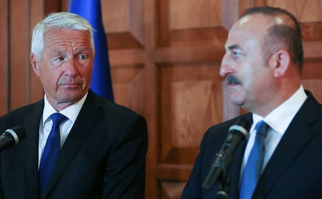 Foreign Minister Mevlüt Çavuşoğlu (R) held a joint press conference with the secretary-general of the Council of Europe Thorbjorn Jagland after their meeting.