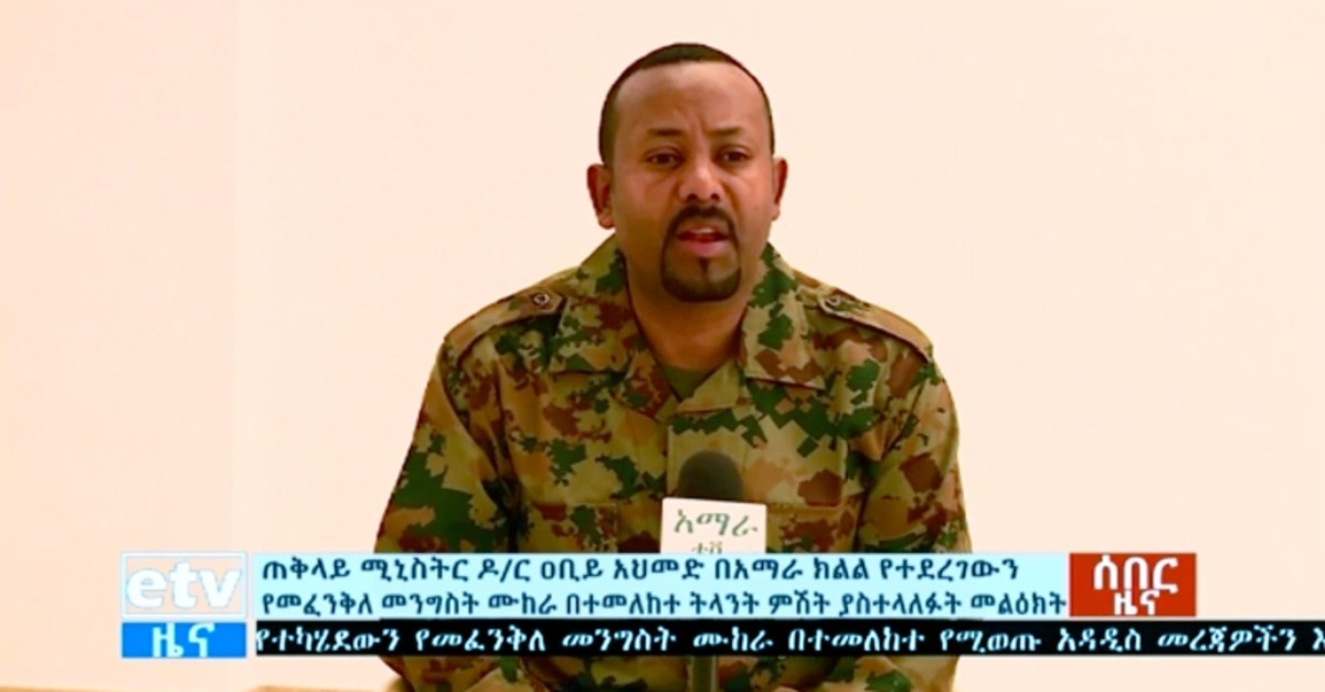 In this image made from video, Ethiopia's Prime Minister Abiy Ahmed announces a failed coup as he addresses the public on television, Sunday, June 23, 2019. (ETV via AP)