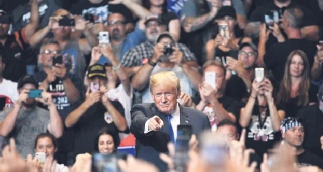 U.S. President Donald Trump speaks at a political rally at the Mohegan Sun Arena, Pennsylvania, Aug. 2.