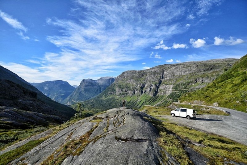 A handout picture released by Andrew Pardy at therogueconsultant.com on August 9, 2018 shows Andrew Pardy's van parked with a view over Geirangerfjord in Norway on July 30, 2018. (AFP Photo)