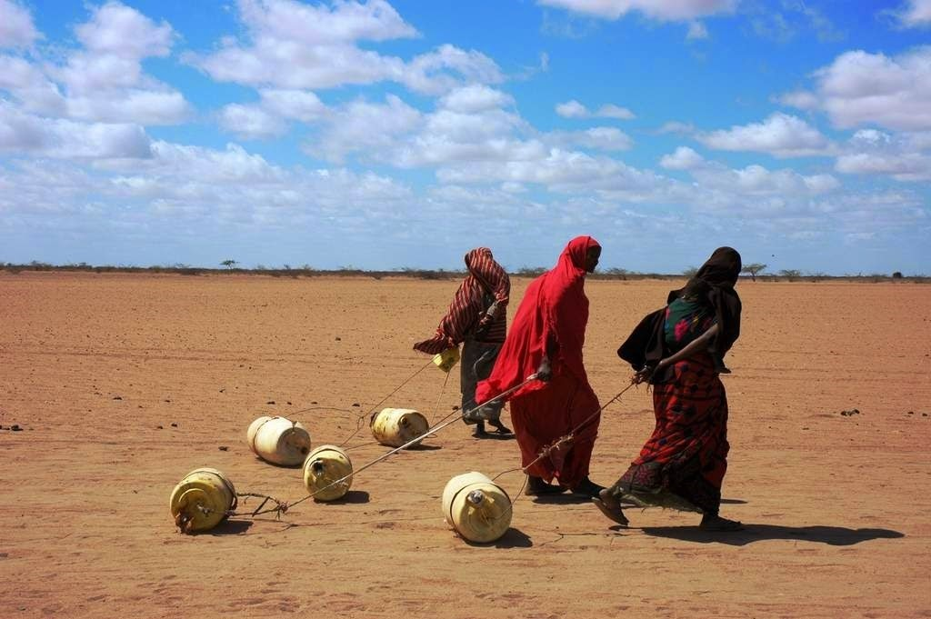 Women in Kenya drag cans of clean water to their homes.
