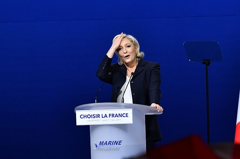 French far-right presidential candidate Marine Le Pen delivers her speech during a meeting, Monday May 1, 2017, in Villepinte, outside Paris. (AA Photo)