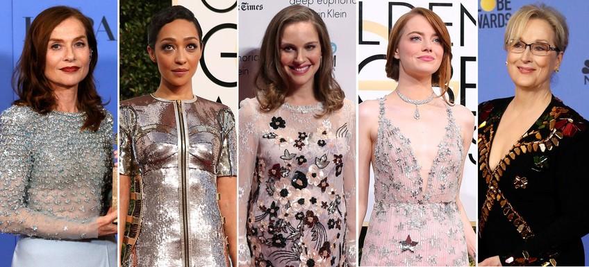 (L-R) Isabelle Huppert, Ruth Negga, Natalie Portman, Emma Stone and Meryl Streep (Reuters Image)