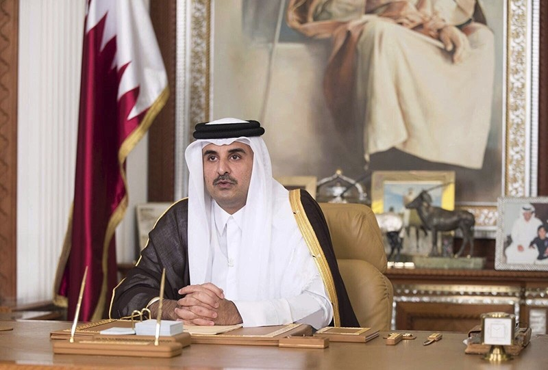 In this Friday, July 21, 2017, file photo, Emir of Qatar Sheikh Tamim bin Hamad al-Thani talks in his first televised speech since the dispute between Qatar and three Gulf countries and Egypt, in Doha, Qatar. (AP Photo)