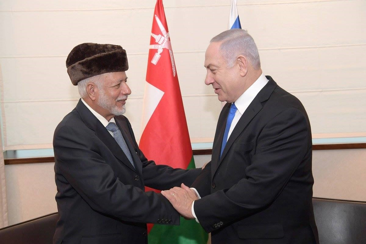 This photo published by Israeli PMu2019s office shows Omani Foreign Minister Ben Alawi during his meeting with Netanyahu at the Intercontinental Hotel in Warsaw