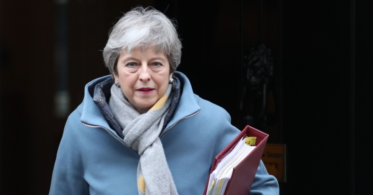 Britain's Prime Minister Theresa May leaves 10 Downing Street in London on March 20, 2019. (AFP Photo)