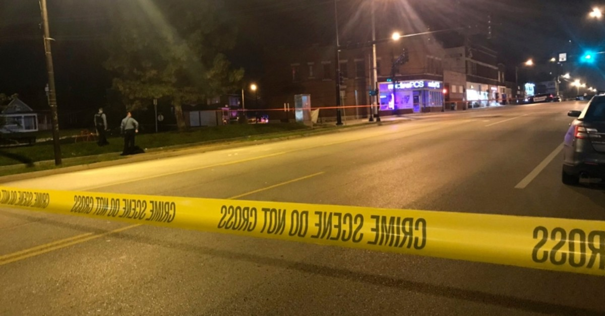 In this image from 41 KSHB Kansas City Action News police work the scene of a shooting outside a Kansas City, Kansas bar Sunday, Oct. 6, 2019. (41 KSHB Kansas City Action News via AP Photo)