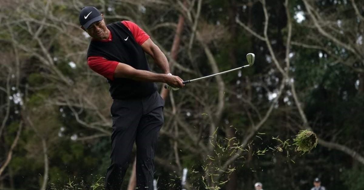 Woods watches his shot on the 14th hole during the final round of the Zozo Championship PGA Tour, Inzai, Oct. 28, 2019. (AP Photo)