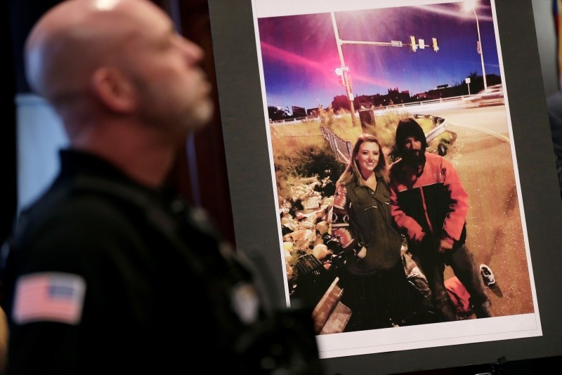 A picture of Katelyn McClure and Johnny Bobbitt Jr. is displayed during a news conference in Mt. Holly, N.J., Thursday, Nov. 15, 2018. (AP Photo)