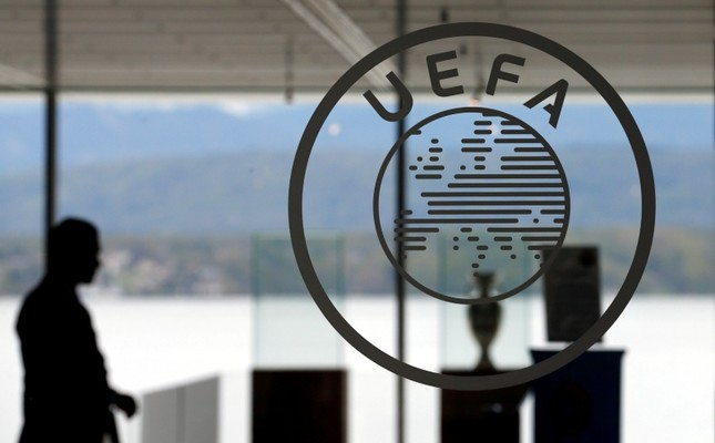 A logo is pictured on UEFA headquarters in Nyon, Switzerland, April 15, 2016. (Reuters Photo)