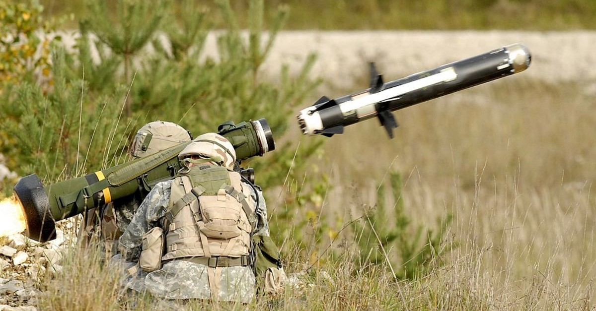 Photo of Javelin missile being launched by U.S. soldiers (Wikipedia)