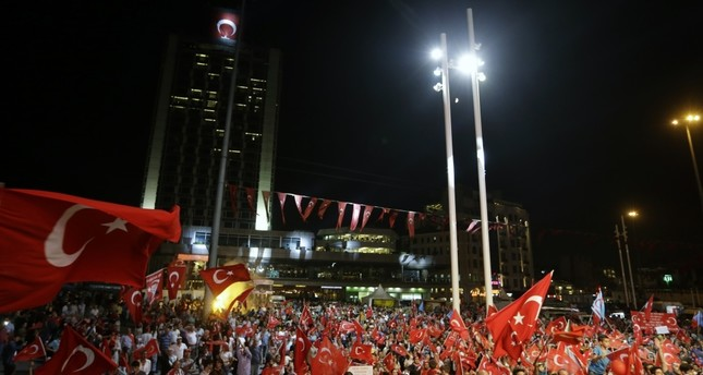 People gathered at Taksim Square to protest the failed July 15 coup attempt, Istanbul, Aug. 10. (AP Photo)